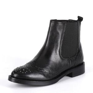 【3折到手价149.7元】ST&SAT星期六专柜切尔西低跟平跟女靴牛皮英伦SS54112969