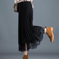百褶裙女秋冬【两面穿】高腰蕾丝纱裙半身打底裙中长修身显瘦 S 95斤以下