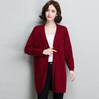 秋季中长款大码女装针织开衫外搭200斤胖MM长袖上衣宽松毛衣外套