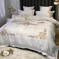 欧式刺绣被套网红款全棉床单四件套1.8m床笠纯棉床上用品 2.0m(6.6英尺)床 床单款【四件套】