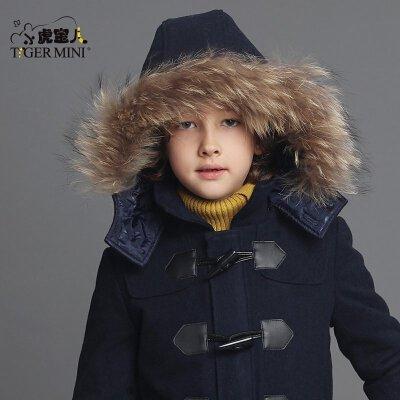 男童加绒加厚外套 儿童羊毛呢子大衣中大童韩版冬装童装小虎宝儿羊毛混纺 真毛大毛领 夹棉加厚