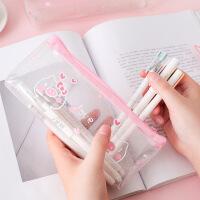 创意文具学生笔袋铅笔袋透明 樱花猪系列倒梯形笔袋办公用品