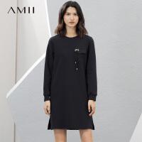 Amii极简chic设计感纯色短裙女2018秋新款宽松裙子圆领长袖连衣裙