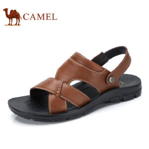 camel 骆驼男鞋 夏季新品男凉鞋沙滩鞋男士透气牛皮露趾凉鞋