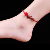 民族风脚链本命年红绳编织脚饰文艺中国风装饰品女