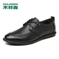 木林森皮鞋 新款男士系带英伦男鞋商务休闲鞋男士皮鞋牛皮正装鞋结婚鞋子77053125