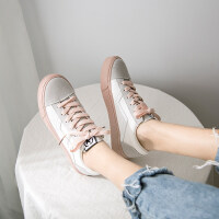 豆沙绿帆布鞋女学生复古港味板鞋2019新款女鞋百搭春款小白鞋