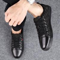 夏季透气休闲皮鞋男韩版板鞋小黑鞋夏天平底布鞋时尚个性男鞋潮鞋