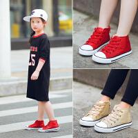 秋款儿童帆布鞋男童女童鞋宝宝高帮系带欧美风格
