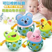 1-2-3周岁益智玩具软胶牙咬4手抓球新生儿童0-3-6-12月宝宝手摇铃