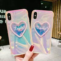 变色闪闪爱心8plus苹果x手机壳XS Max/XR/iPhoneX/7p/6女iphone6s 6/6s 镭射 刺绣