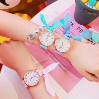 韩版日系原宿可爱兔子蝴蝶结绑带手表 简约软妹创意小清新女学生腕表