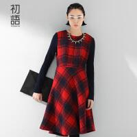 【1件8折/2件6折】 初语冬季新品 拼毛织格纹长袖毛呢连衣裙女8532416015
