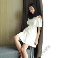 2018夏季波西米亚露肩连衣裙韩版修身短袖裙A字裙子沙滩度假短裙 白色