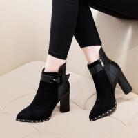 №【2019新款】冬天美女穿的靴子尖头短靴女粗跟高跟鞋网红�l瘦靴内增高加绒马丁靴