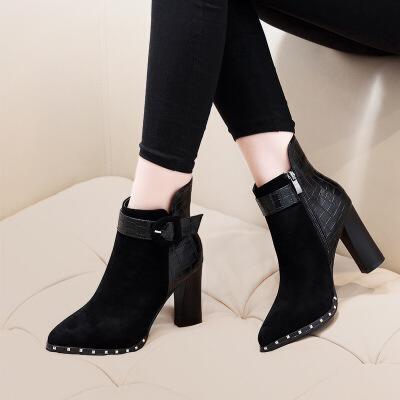 №【2019新款】冬天美女穿的靴子尖头短靴女粗跟高跟鞋网红痩瘦靴内增高加绒马丁靴