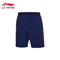 李宁运动短裤男士2017新款跑步系列透气夏季梭织运动裤AKSM105