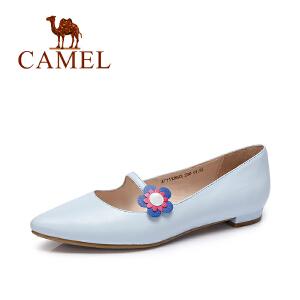 【每满200减100元 满400-200】camel骆驼女鞋  春夏新款 韩版小清新低跟尖头单鞋花朵套脚浅口鞋