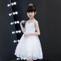 2018欧美女童背心公主连衣裙夏儿童六一蓬蓬表演礼服中小童蓬蓬裙 白色