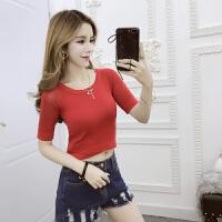 夏季韩国露脐T恤女短袖修身百搭学生露腰短款高腰漏肚脐上衣 均码