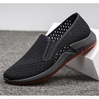 老北京布鞋男鞋夏季透气网面耐磨劳保黑色工作鞋中老年爸爸鞋开车