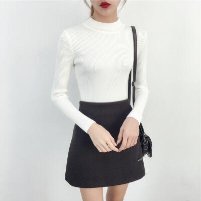 半高领毛衣女士秋冬2018新款长袖内搭套头加厚修身紧身针织打底衫