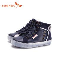 【1件2折后:35.8元】红蜻蜓童鞋冬款韩版高帮系带轻便舒适休闲男童儿童板鞋