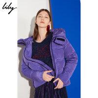Lily秋冬新款女装时髦电光紫短款宽松连帽羽绒服118440D3107