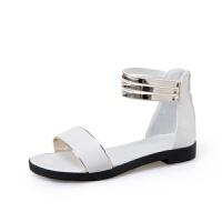 韩版夏季凉鞋女平底露趾百搭包跟女鞋平底细带学生女鞋