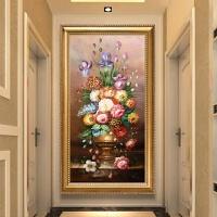 5d水晶钻石画走廊欧式5d钻石画满钻石绣花瓶玄关走廊贴钻十字绣2018新款客厅砖石画