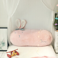INS床头靠枕公主风床上用品 沙发靠背小抱枕1.2m长绒可爱靠垫含芯【】