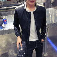 秋季男士皮夹克韩版外套社会人精神青年小伙修身立领皮衣潮流外衣 黑色