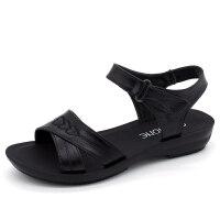 妈妈鞋凉鞋女鞋夏季平底中年软底舒适中老年奶奶老人沙滩