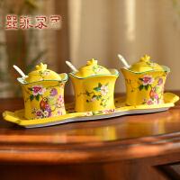 墨菲 欧式田园陶瓷调味罐四件套装 美式乡村调料盒创意厨房用品