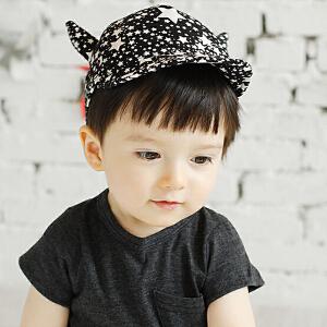 货到付款 Yinbeler3D怪兽角星星鸭舌帽翻边春秋宝宝儿童遮阳帽夏季棒球帽子婴儿女男童帽太阳帽