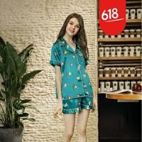 2018春夏季新款印花家居服 女士短袖短裤两件套套装魅儿GH089 湖蓝