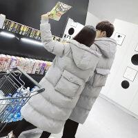 外套男冬季情侣装棉衣中长款加厚过膝羽绒棉袄韩版宽松面包服