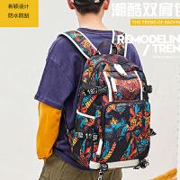学生书包男初中生时尚双肩包大容量背包