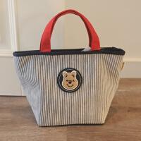 日本小熊维尼女士学生帆布艺便当包 带饭盒复习袋妈咪包手提拎包