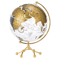 博目 25cm中英文金色政区透明地球仪 办公用品文具教具 创意礼品 办公书房装饰