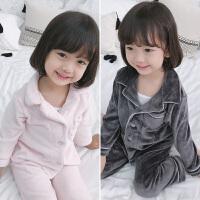 女童家居服秋装儿童睡衣男童珊瑚绒套装二件童装