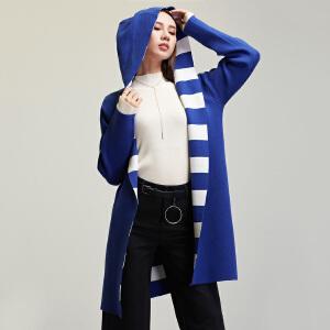 2018冬季新款欧美撞色条纹针织毛衣外套女中长款连帽加厚长袖大衣
