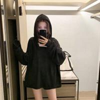 秋装连帽长袖卫衣短裤运动休闲秋季套装女网红时尚夏季两件套 黑色 上衣+短裤