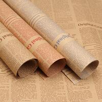 情人节鲜花包装纸怀旧复古英文报纸拍照背景墙纸包书纸礼盒20张