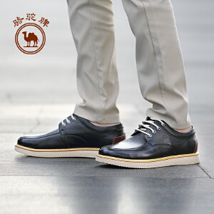 骆驼牌男鞋 2017新款时尚百搭男皮鞋柔软牛皮舒适系带潮鞋