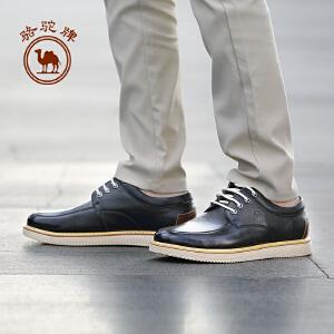 骆驼牌男鞋 新款时尚百搭男皮鞋柔软牛皮舒适系带潮鞋