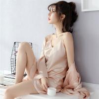 春秋季睡衣女夏季长袖冰吊带睡裙睡袍两件套装家居服