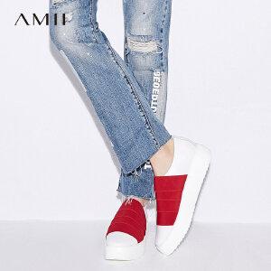 【品牌团 1件7折/2件5折】Amii[极简主义]2017新款轻运动风撞色橡筋厚底圆头休闲鞋11744566