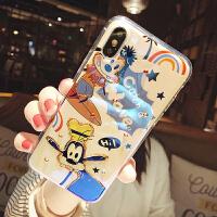 卡通熊猪iphone x手机壳xr可爱苹果xsmax蓝光闪钻7/8plus情侣6s潮 i6/6s 蓝光滴胶 高飞