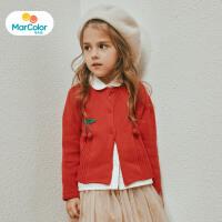 【1件2折】马卡乐童装女宝宝秋季新款女童甜美立体樱桃装饰长袖毛开衫